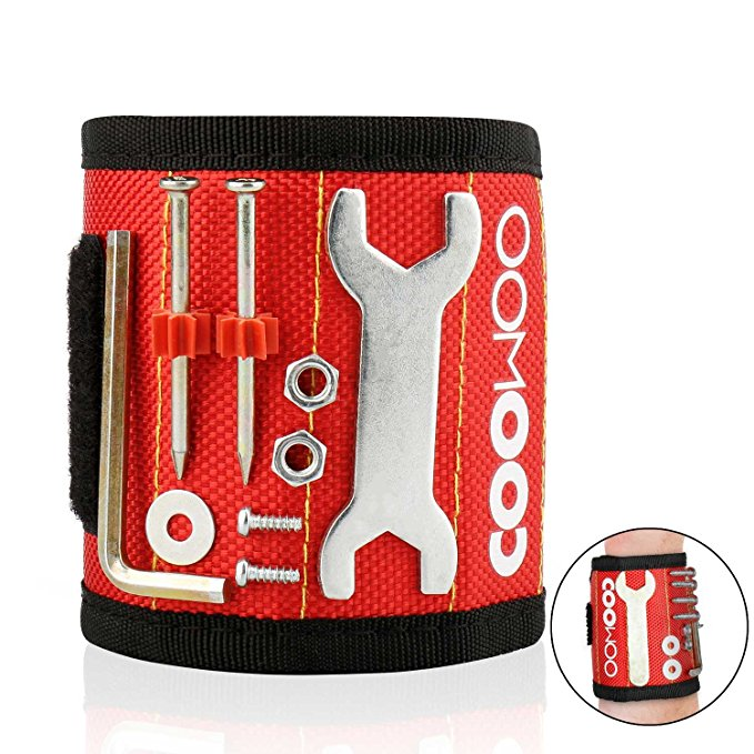 COOWOO Magnetic Wristband Tools Belts with Super Strong Magnets for Holding Screws, Nails, Drill Bits - Best Unique Tool Gift for Men, DIY Handyman, Father/Dad, Husband, Boyfriend, Him, Women (Red)