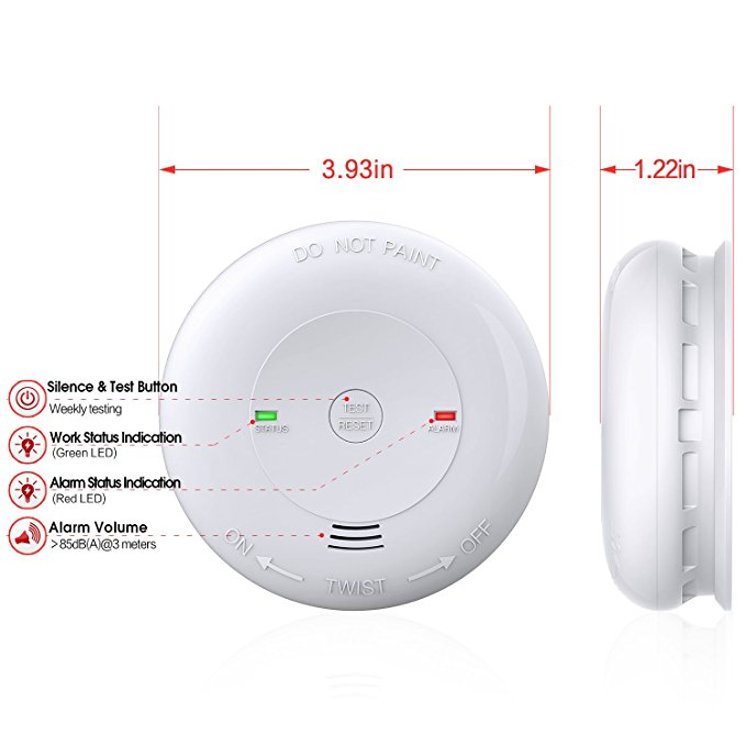 CO Alarm/Detector, 7 Years Battery-Operated Carbon Monoxide Alarm/Detector(Not Hardwired) with Silence Button, Electrochemical Sensor & UL Listed Carbon Monoxide Alarm(Battery included)