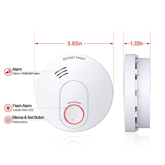 10 Years Battery-Operated Smoke and Fire Alarm/Detector(Not Hardwired) with Silence Button and 10-hours Eliminates Late Night Low Battery Chirps Mode Photoelectric Sensor & UL Listed Smoke&Fire Alarm