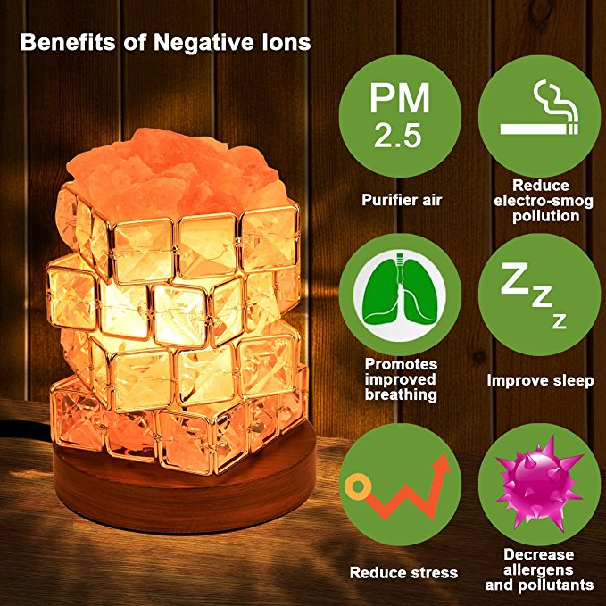 COOWOO Himalayan Salt Lamp, Pink Natural Crystal and Cube Diamonds Salt Lamp with Wood Base, Bulb and Rotary Dimmer Switch Control for Christmas Gift and Home Decorations
