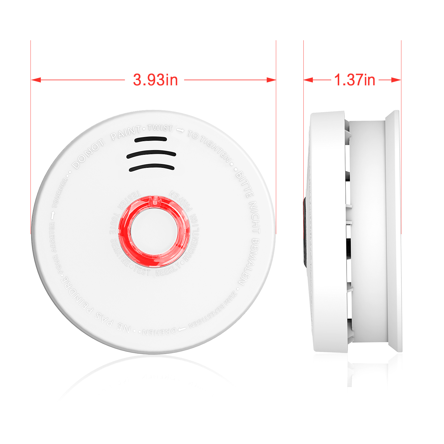 2 Pack Smoke Detector, Battery-Operated(Not Hardwired) Smoke and Fire Alarm/Detector with Test Button, 10 Years Photoelectric Smoke Alarm with UL Listed(9V Battery included)
