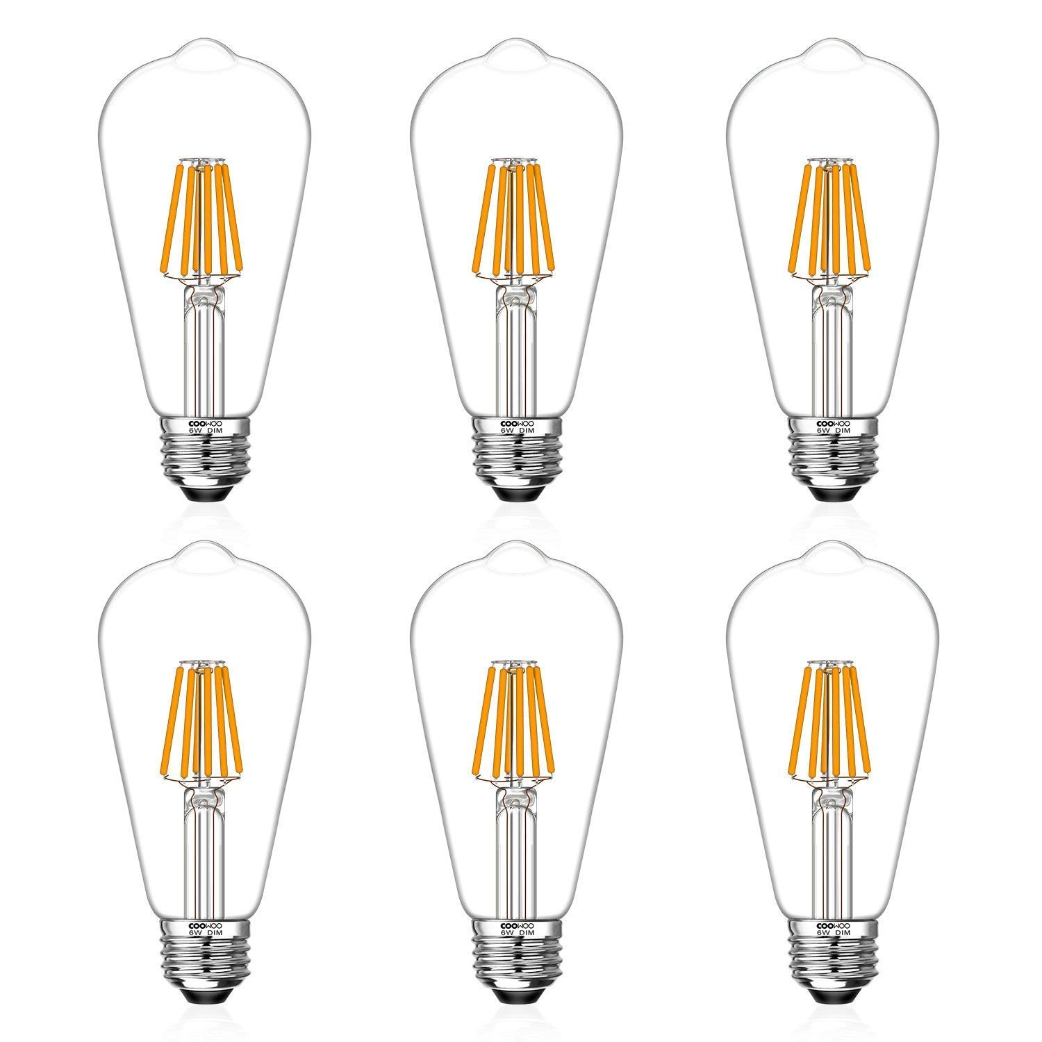 LED Edison Light Bulbs 60W Equivalent Halogen Replacement Dimmable E26 Base Vintage Filament Pendant Light Bulbs 2200K Amber Glow 6W UL-Listed Commercial Island Light Bulbs with 600lm 6 Pack by COOWOO