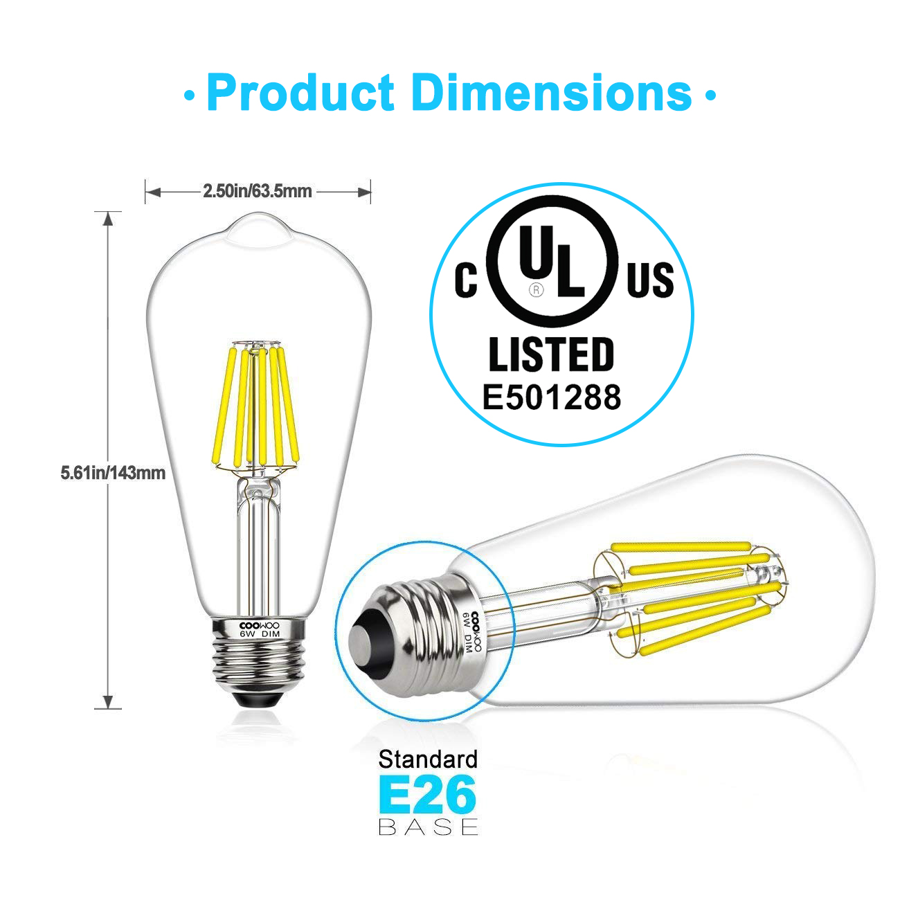 LED Edison Light Bulbs 60W Equivalent Halogen Replacement Dimmable E26 Base Vintage Filament Pendant Light Bulbs 5000K Daylight White 6W UL-Listed Commercial Island Light Bulbs 600lm 6 Pack by COOWOO