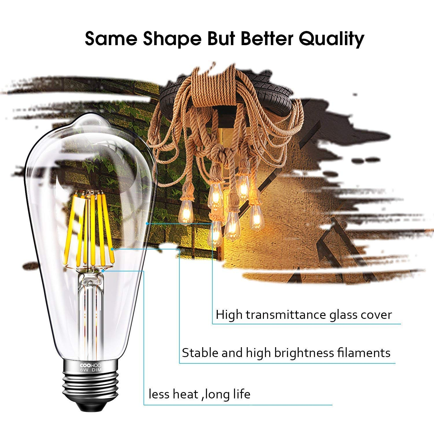 COOWOO LED Edison Light Bulbs 60W Equivalent Halogen Replacement Dimmable E26 Base Vintage Filament Pendant Light Bulbs 2700K Warm White 6W UL-Listed Commercial Island Light Bulbs with 600lm 6 Packs