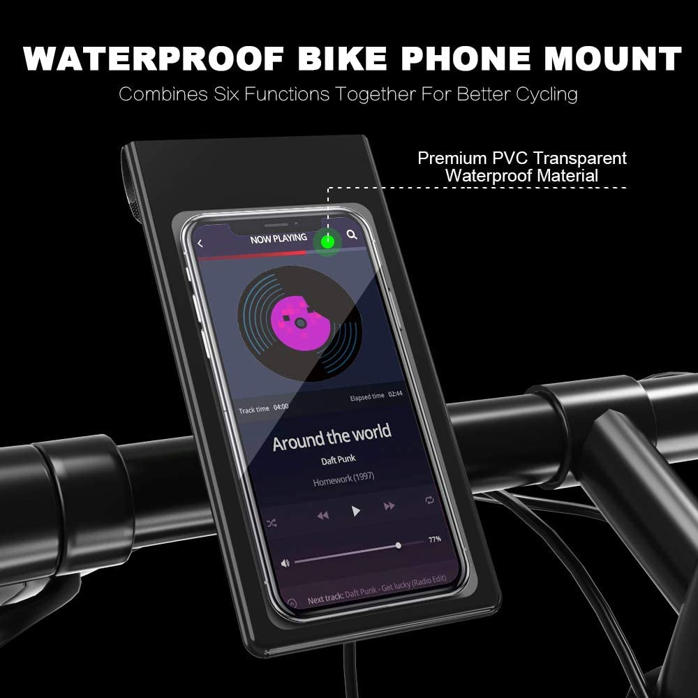 Lightingalways Waterproof Bike & Motorbike Phone Mount, Universal Fit Bike Phone Holder Cycling Handlebar Bag Phone Holder Bag with 360° Rotation for Any Smartphone up to 6.5''(16.5CM)