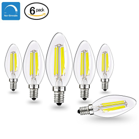 E12 LED Bulbs Candelabra LED Light Bulbs with E12 Base 40W Equivalent Halogen Replacement Daylight White 5000K 4W Filament Candle Light Bulbs with 400 Lumen 6 Packs by COOWOO