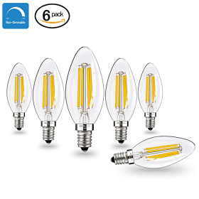 E12 LED Bulbs Candelabra LED Light Bulbs with E12 Base 40W Equivalent Halogen Replacement Warm White 2700K 4W Filament Candle Light Bulbs with 400 Lumen 6 Packs by COOWOO