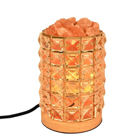 Decolighting HY-02 Salt Lamp, Himalayan Salt Lamp Natural Salt Crystal Chunks in Acrylic Diamond Cylinder with Wooden Base, Rotary Switch Adjusts Brightness, Dimmable Control, 2 Bulbs, UL-Listed Cord