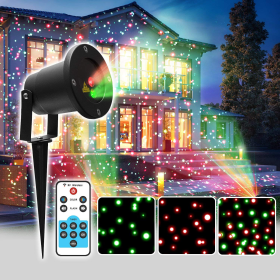 Christmas Lights IP65 Waterproof R&G Landscape Projector with RF Remote Control for Garden/Landscape/Yard/Lawn/Tree/Outdoor Wall/Snow/Home/House Decoration and Christmas Holiday Decoration